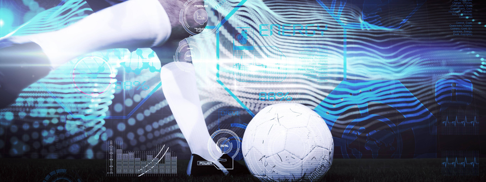[Translate to German:] Fußballer am Ball in futuristischer Umgebung